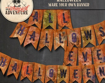 Halloween banner printable collage sheet, digital download, DIY Halloween party banner, party printables, party decorations, garland, flags