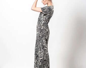 Special Occasion Womens Dresses, Maxi Dress With Sleeves, Maxi Long Dress, Long Dress Formal, Snake Print Dress, v-neck dress, TheChicoholic