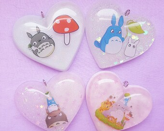 Totoro Resin Jewelry, Resin Heart Charm Necklace, Resin Pendant