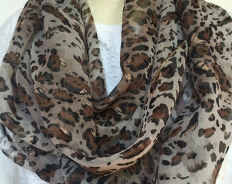 Brown leopard with gold accents infinity scarf