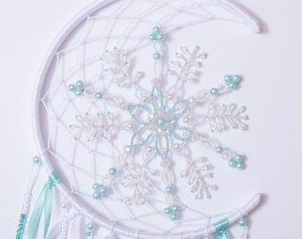 Crescent Dream Catcher Christmas White Mint Nursery Baby Decor Beaded Snowflake  Bedroom Mobiles Winter Babies Snow