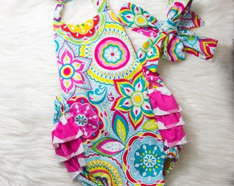 Floral and Chevron Ruffle Romper