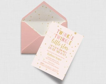 """Twinkle Twinkle Little Star, Do You Know How Loved You Are? Baby Shower 5"""" x 7"""" Invitation - Digital or Printed"""