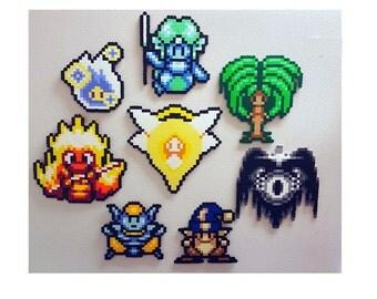 Secret of Mana, 8 Elemental Spirits, Perler, SoM, videogame sprite, magnet, snes rpg, perler bead art pixel, seiken densetsu, 8 bit retro