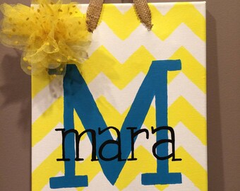 Canvas Name Wall Art- Chevron
