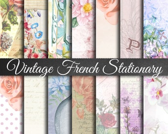Vintage French Stationary II - Digital Stationary Papers, Printable Stationary, Vintage Stationary, Paris France Stationary, Old Time Papers