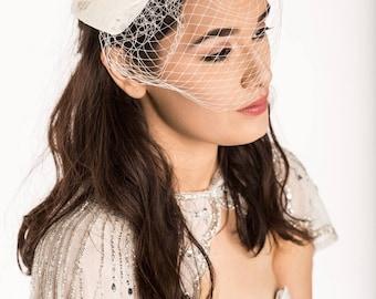 Birdcage veil, bow birdcage, Bridal birdcage, lace bow birdcage, birdcage fascinator, ivory birdcage veil, bow birdcage veil, Ivory birdcage