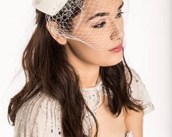 bridal birdcage veil - ivory - wedding veil - bridal fascinator