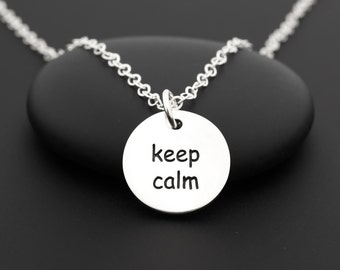 Keep Calm and Carry On Necklace, Motivational Necklace, Quote Necklace, Sterling Silver, Inspirational Jewelry, Quote Jewelry