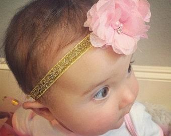 Pink and Gold Headband...Pink Flower Headband...Flower Headband...Flower Crown Headband...Baby Girl Headband...Baby Headband...Pink and Gold