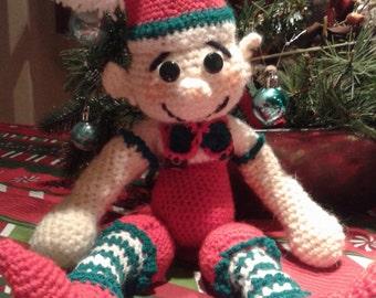 Amigurumi,Cute Elf,Teri  Crews  Designs,Christmas Handmade Crochet Elf,Christmas Gift,Crochet toy,Christmas Elf,Christmas Giftt