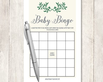 Garden Baby Shower Bingo Game DIY / Gender Neutral / Rustic Vine Wreath / Sage Green Wreath / Baby Bingo Printable Game ▷ Instant Download