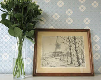 Vintage Pencil Drawing of a Dutch Oil Mill the Ooievaar Reproduction 1960s