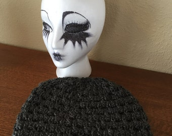 Slouchy grey hand knitted hat