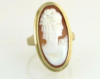 Antique Vintage Estate Designer House of Kraus Estate 10k Yellow Gold Hand Carved Cameo Ring 6.2g