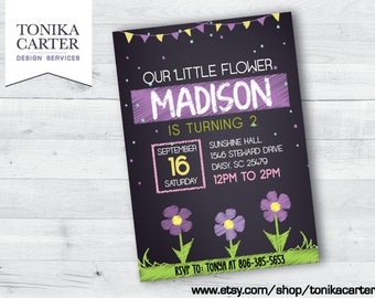 Purple Flower Birthday Invitation (with picture)