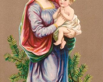 Vinatge Christmas Postcard Digital Image Digital Download Clip Art 300dpi