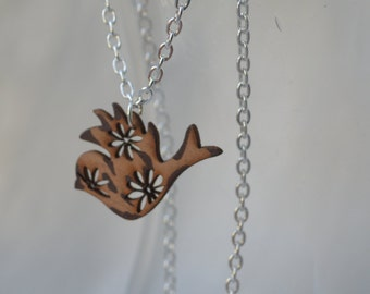 Laser cut wooden necklace, wooden bird necklace,wooden flower necklace, wooden bunny necklace,rabbit necklace, wooden butterfly necklace