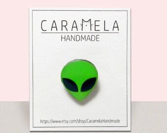 Green Alien pin Science pin Alien brooch UFO pin Gift idea