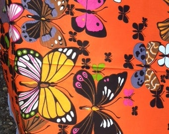 Retro Butterfly Fabric 1.09 Yards Butterflies On Fabric