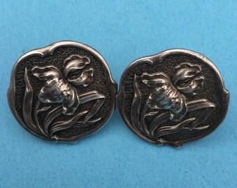 Sterling Silver Iris flower earrings, vintage earrings, screw back, Henry Matthews, 1902, Valentines Gift