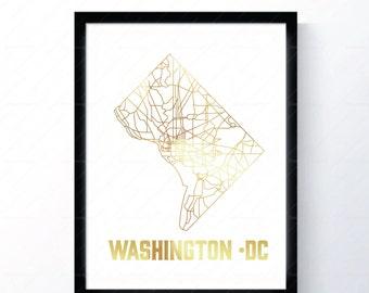 Washington DC - Gold Foil Map