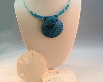 Blue Seashell Necklace Beach Jewelry Beach Necklace Seashell Jewelry Sea Shell Jewelry Sea Shell Necklace Resort Jewelry Cruise Jewelry