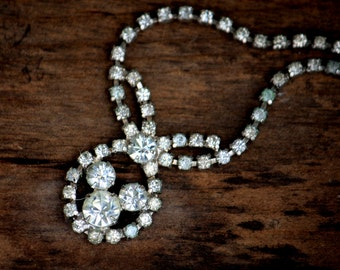 La Rel Rhinestone Choker Vintage Necklace with bow and loop drop