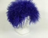 Cappello blu agnello mongolo vintage 70s