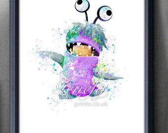 Disney Pixar Monsters Inc Boo Watercolor Poster Print - Watercolor Painting - Watercolor Art - Kids Decor- Nursery Decor