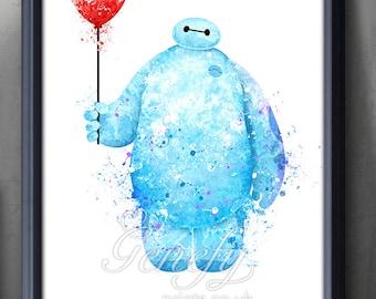 Disney Big Hero 6 Baymax  Watercolor Poster Print - Watercolor Painting - Watercolor Art - Kids Decor- Nursery Decor [2]