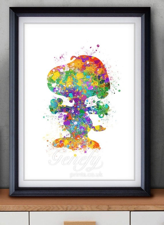 Snoopy Peanuts Watercolor Poster Print Wall Decor