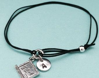 Chalkboard cord bracelet, chalkboard charm bracelet, adjustable bracelet, charm bracelet, personalized bracelet, initial, monogram