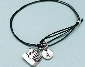 Sugar cord bracelet, sugar charm bracelet, adjustable bracelet, charm bracelet, personalized bracelet, initial bracelet, monogram