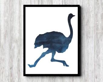 Watercolor Ostrich Silhouette Wall Art - African Bird Wall Decor - Dark Blue Art Poster - Bird Art Print - Office Wall Art -Instant Download
