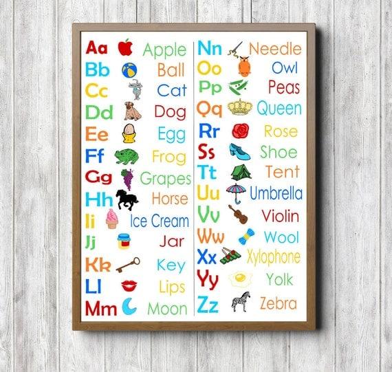 Classroom Wall Decoration With Charts ~ Alphabet chart printable wall art classroom decor