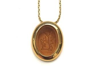 Vintage Victorian Revival Intaglio Necklace, Eros and Psyche Greek Style Intaglio, Amber Glass Intaglio