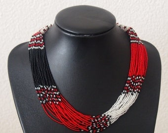 Multistrand Beaded Zulu Necklace - Red