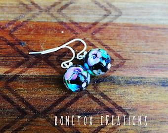 Handmade Glass lampwork earrings, Black floral earrings, black flower earrings drop dangle earrings, glass earrings, silver earrings