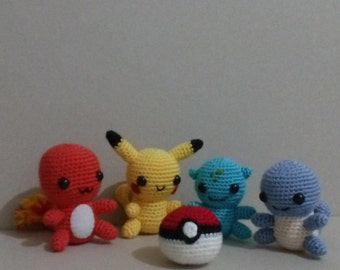 Amigurumi Pokemon Set Organic Handmade Toy  Pikachu  Squirtle  Bulbasaur  Charmander and pokeball