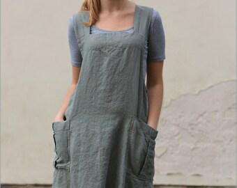 Linen tunic apron / Work dress / Original linen pinafore / linen tunic / linen dress apron / linen / linen pinafore / tunic over jeans