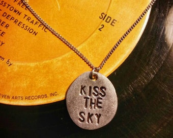 Jimi Hendrix - Kiss The Sky pewter charm necklace