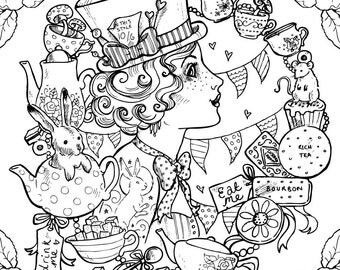 Adult Colouring Page. Mad Hatter Alice in Wonderland. Steampunk Gothic Victorian Tattoo (Instant Download PDF and JPEG file for Coloring)