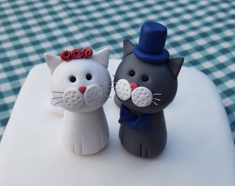 Grey and White Cats: Wedding Cake Topper