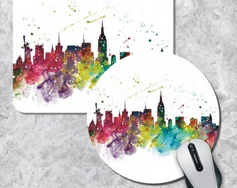 New York Mousepad, Skyline Mouse Pad, Watercolor Mouse Mat,  New York, Round Mousepad, Custom Mousepad, Wooden Mousepad, Cityscape Mousepad