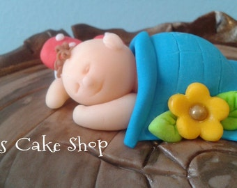 FONDANT BABY cake topper, sleeping baby, boy or girl, with blanket -NO decorations