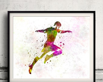 Man soccer football player 12 - poster watercolor wall art gift splatter sport soccer illustration print artistic - SKU 1456
