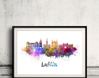 Lublin skyline in watercolor over white background with name of city - Poster Wall art Illustration Print - SKU 1577