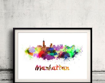 Manhattan skyline in watercolor over white background with name of city - Poster Wall art Illustration Print - SKU 1578
