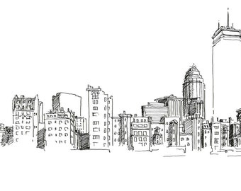 Boston Back Bay Skyline Print 1